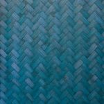 青色に着色した木板が組み合うテクスチャーA4サイズ背景素材