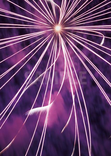 放射状に広がる紫色の花火のA4サイズ背景素材
