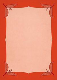 四隅に赤い葉っぱのイラストが飾られたA4サイズ背景素材