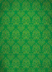 緑色のダマスク柄壁紙のA4サイズ背景素材