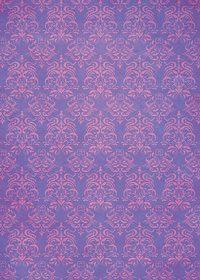 紫色のダマスク柄壁紙のA4サイズ背景素材