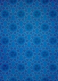 青色の巴紋が幾何学的に並ぶA4サイズ背景素材