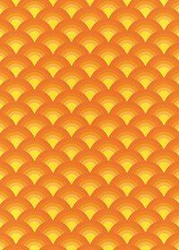 オレンジ色の青海波柄A4サイズ背景素材