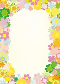 カラフルな花のイラストに囲まれたA4サイズ背景素材