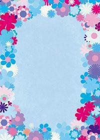 ブルー基調の花のイラストに囲まれたA4サイズ背景素材