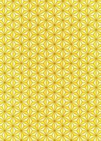 黄色の麻の葉柄A4サイズ背景素材