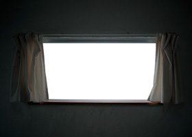 カーテンのある窓のA4サイズ背景素材