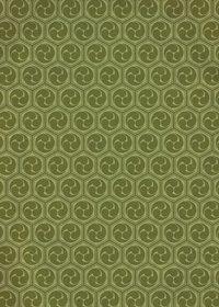 緑色の巴紋・和柄、A4サイズ背景素材