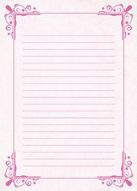 ピンク色の飾り枠と罫線のA4サイズ背景素材