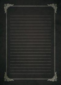 ブラックのクラシカルな飾り枠と罫線のA4サイズ背景素材