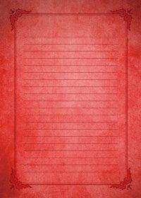 赤いクラシカルな飾り枠と罫線の不気味なA4サイズ背景素材