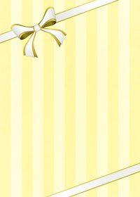 リボンが飾られたイエローストライプのA4サイズ背景素材