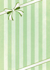 リボンが飾られたグリーンストライプのA4サイズ背景素材