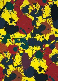 黄色地にインクが飛び散るA4サイズ背景素材
