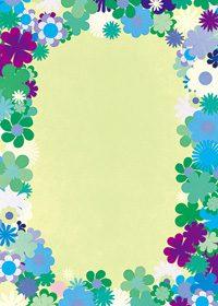 グリーン基調の花のイラストに囲まれたA4サイズ背景素材