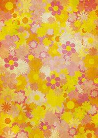 オレンジ色の花のイラストが散らばるA4サイズ背景素材